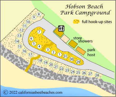 Map Of Campground At Hobson Beach Park Ventura County Ca