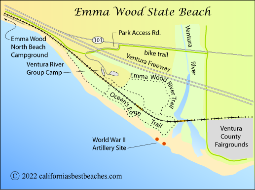 Map Of Emma Wood State Beach Ventura County Ca